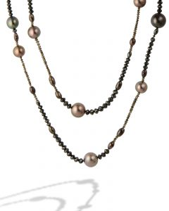 Tahitian pearl and diamond bead necklace