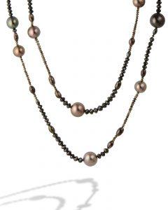 Tahitian pearl and diamond bead necklace