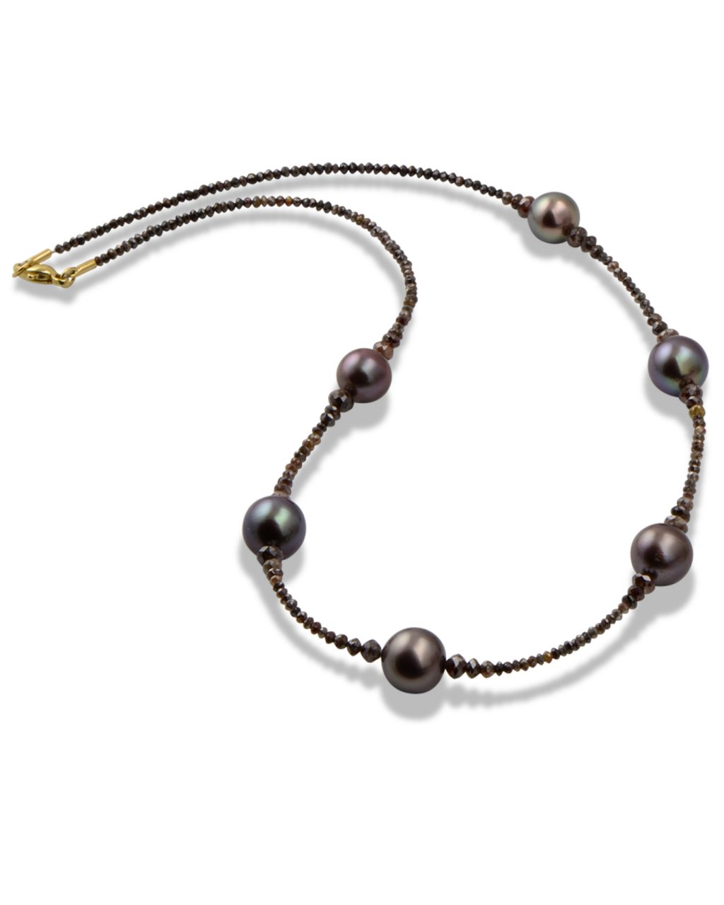 Tahitian pearl and brown diamond bead necklace.