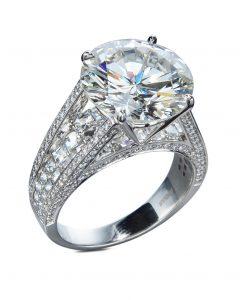 Seven Carat Diamond Engagement Ring with Blaze Cut Diamonds