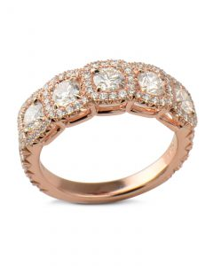 5 diamond halo ring