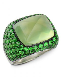 Prehnite and Tsavorite garnet ring