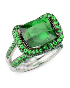 Green tourmaline and Tsavorite garnet ring