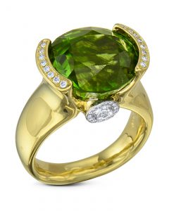 Burma Peridot and diamond ring
