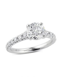 Platinum French-Set Diamond Engagement Ring