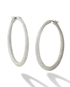 Twisted diamond pavé hoops