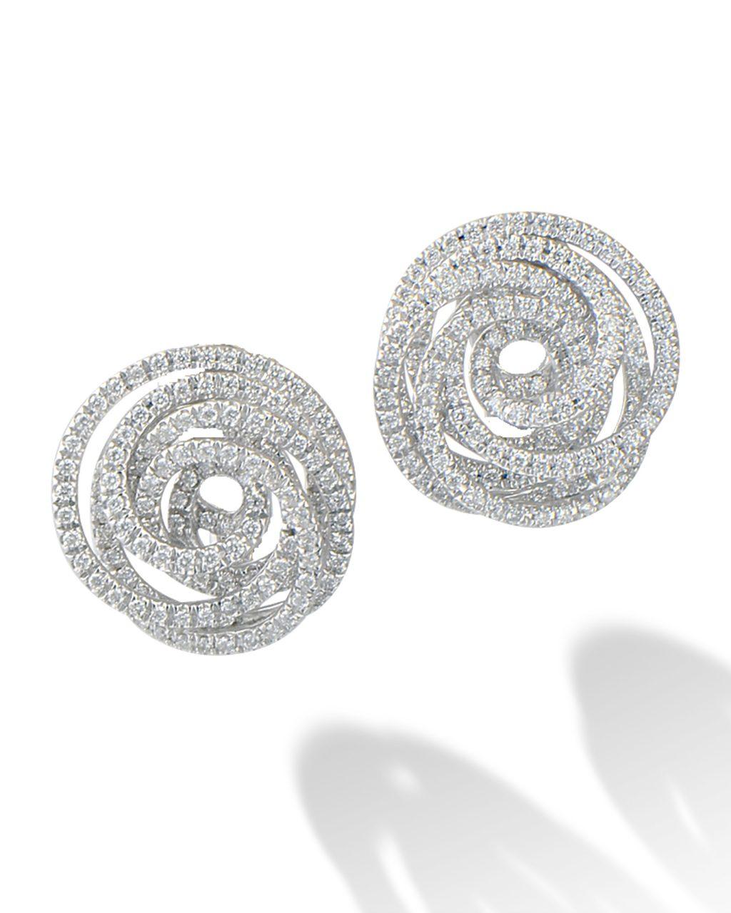 Diamond swirl clip earrings