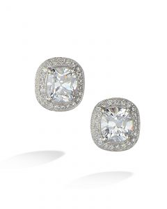 Cushion shape double diamond halo studs
