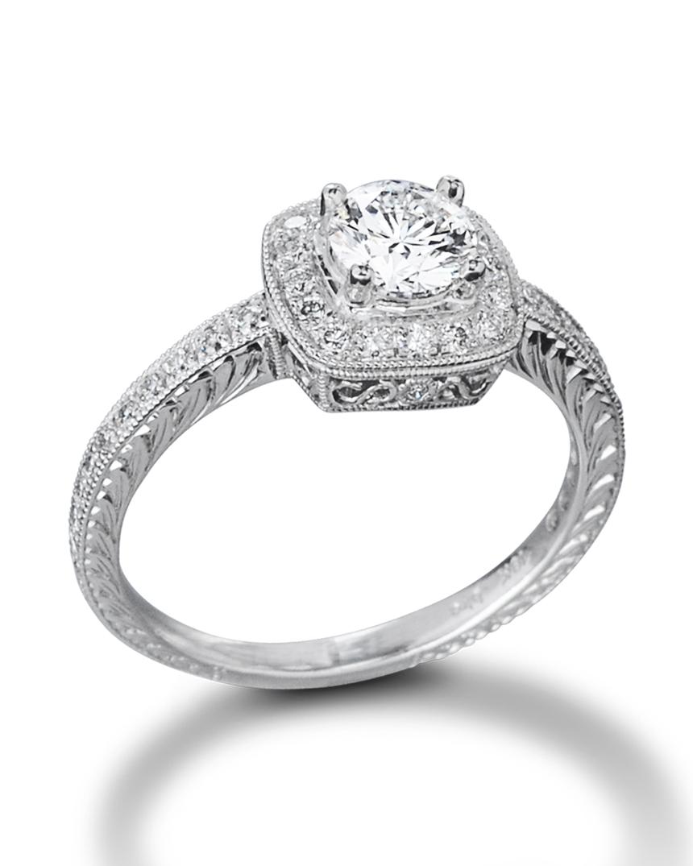 Engraved Vintage,Inspired Engagement Ring