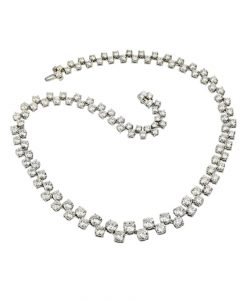 Statement Platinum Diamond Necklace