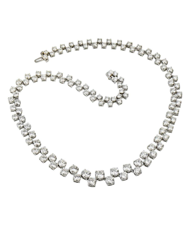 Statement Platinum Diamond Necklace