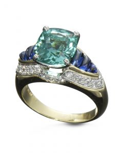 Green Tourmaline and Sapphires