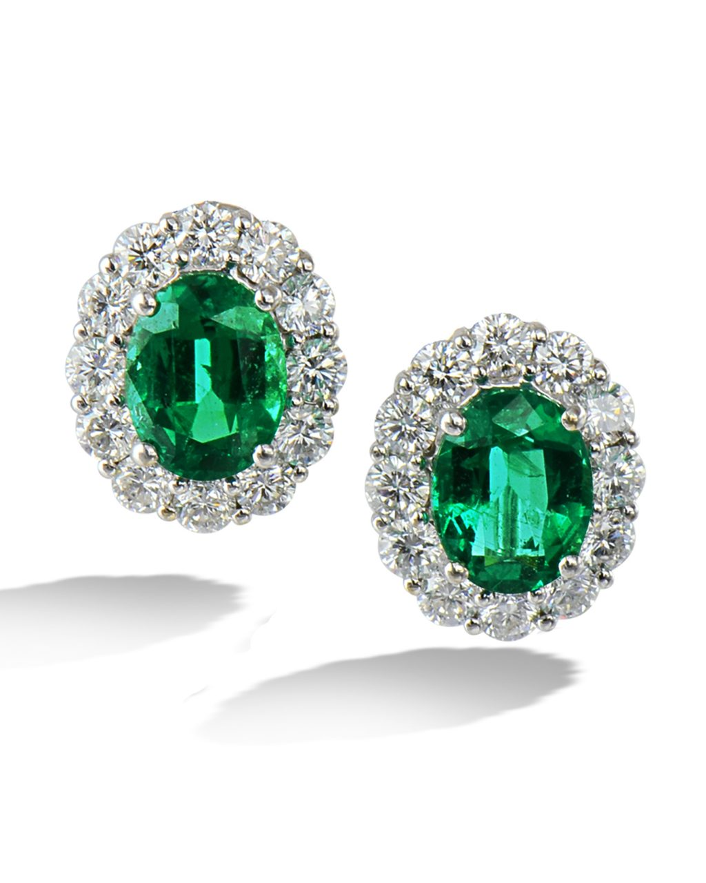 Emerald and diamond clip earrings