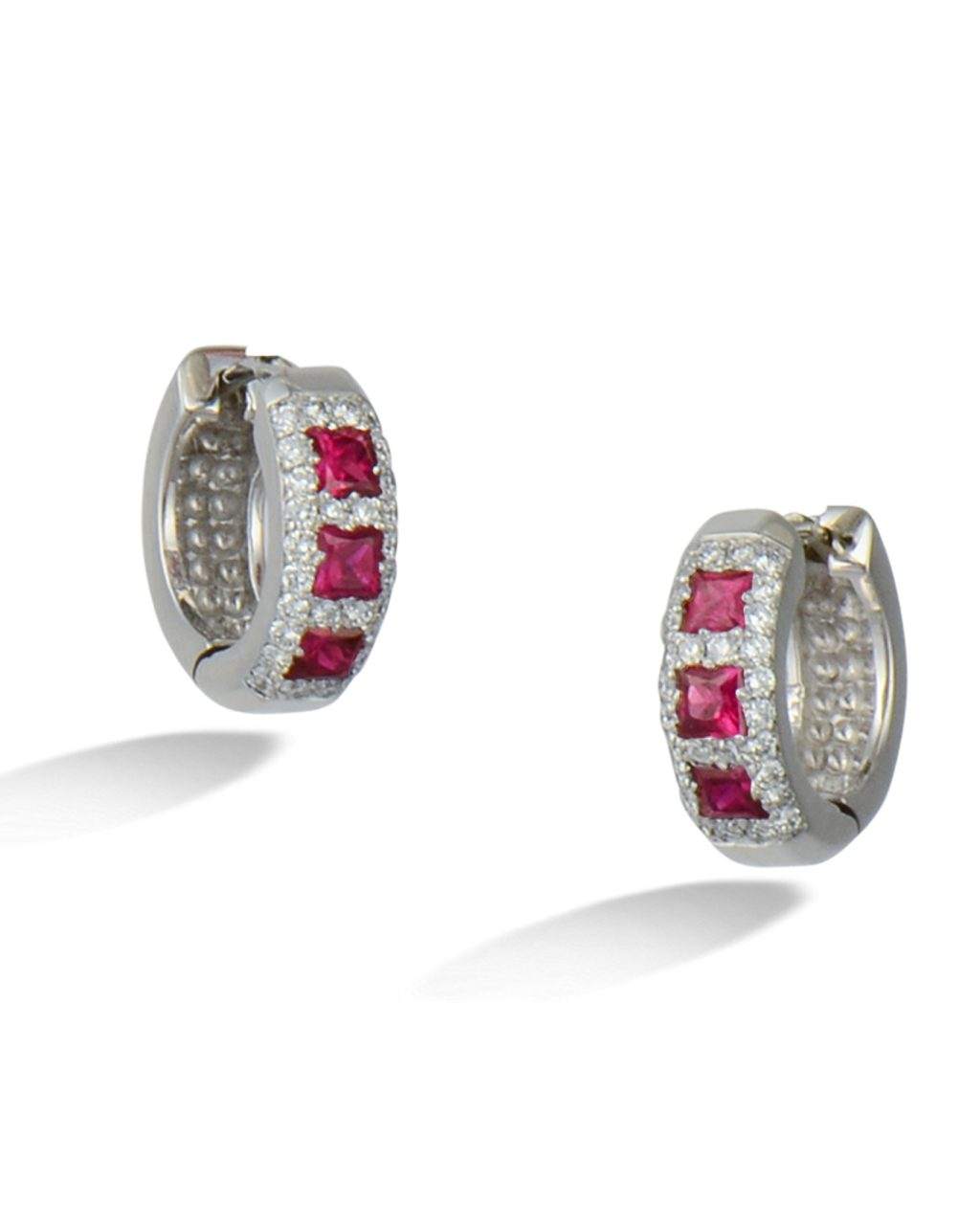 Ruby and diamond hoops