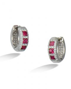 Ruby and diamond hoops
