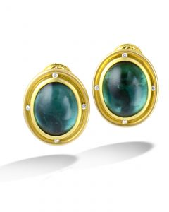 Cabochon green tourmaline earrings