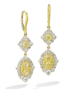 Fancy yellow diamond earrings