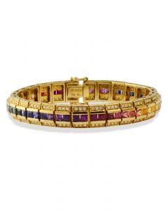Rainbow color sapphire and diamond bracelet
