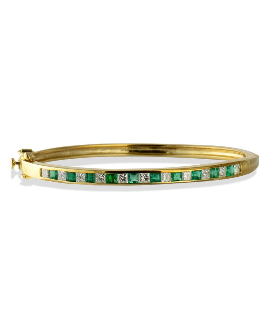 Emerald and diamond hinged bangle bracelet