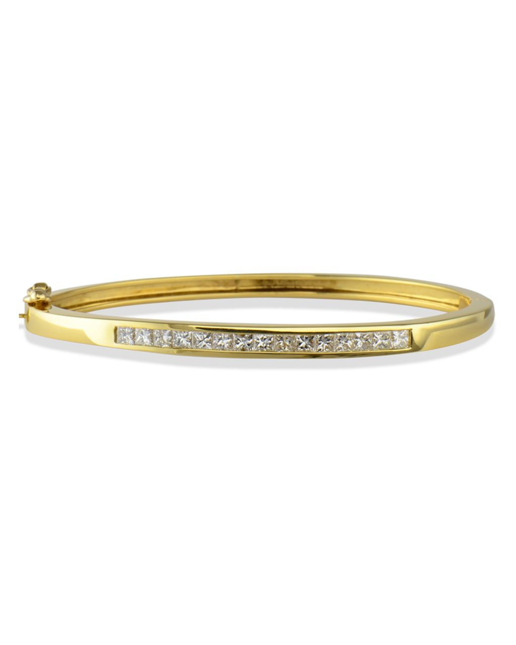 Diamond bangle bracelet with hinge