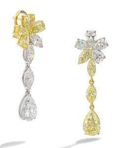 Fancy yellow and white diamond earrings