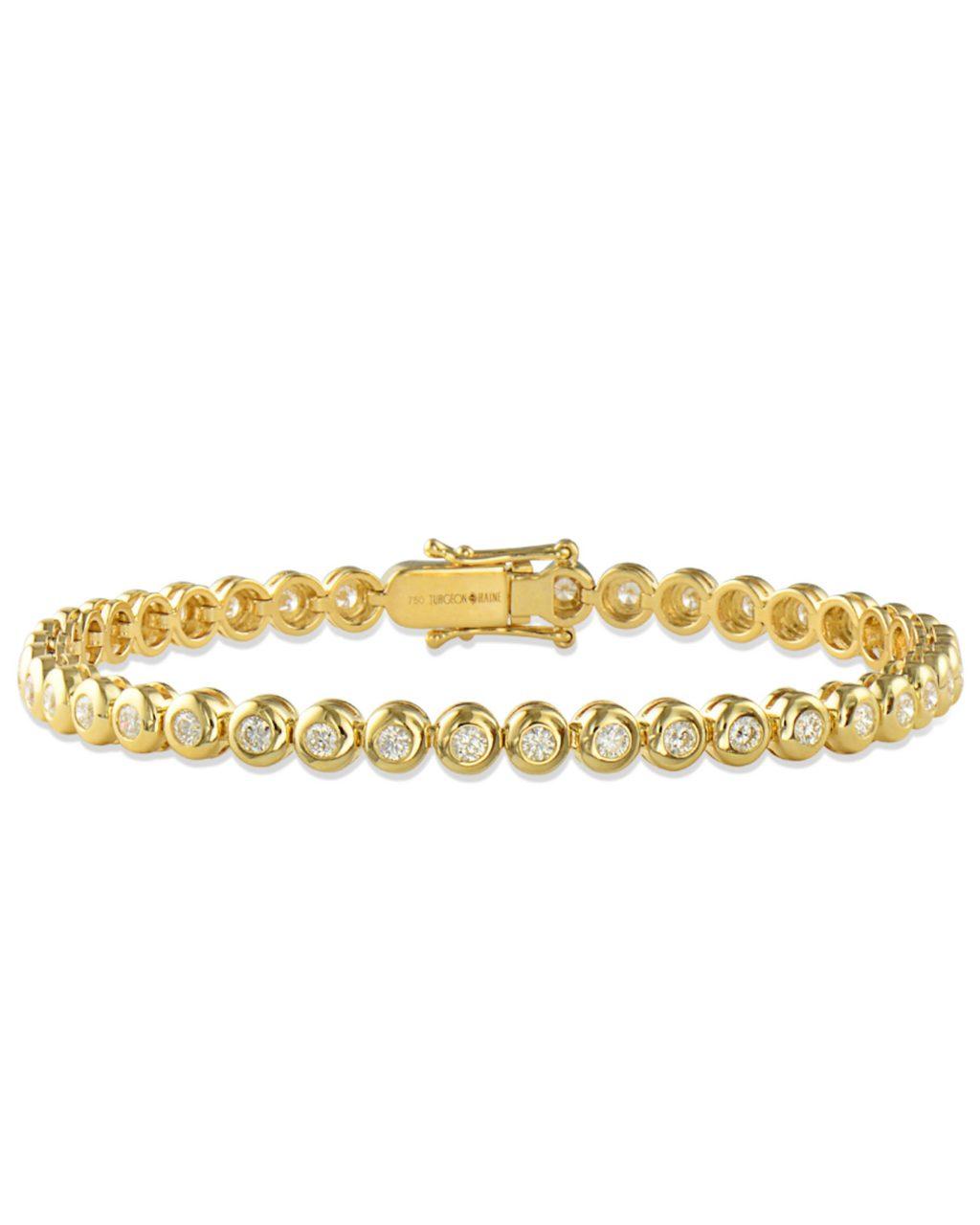 Yellow Gold Bezel-Set Diamond Bracelet
