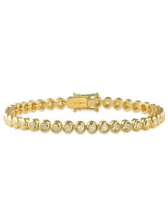 Yellow Gold Bezel-Set Diamond Bracelet