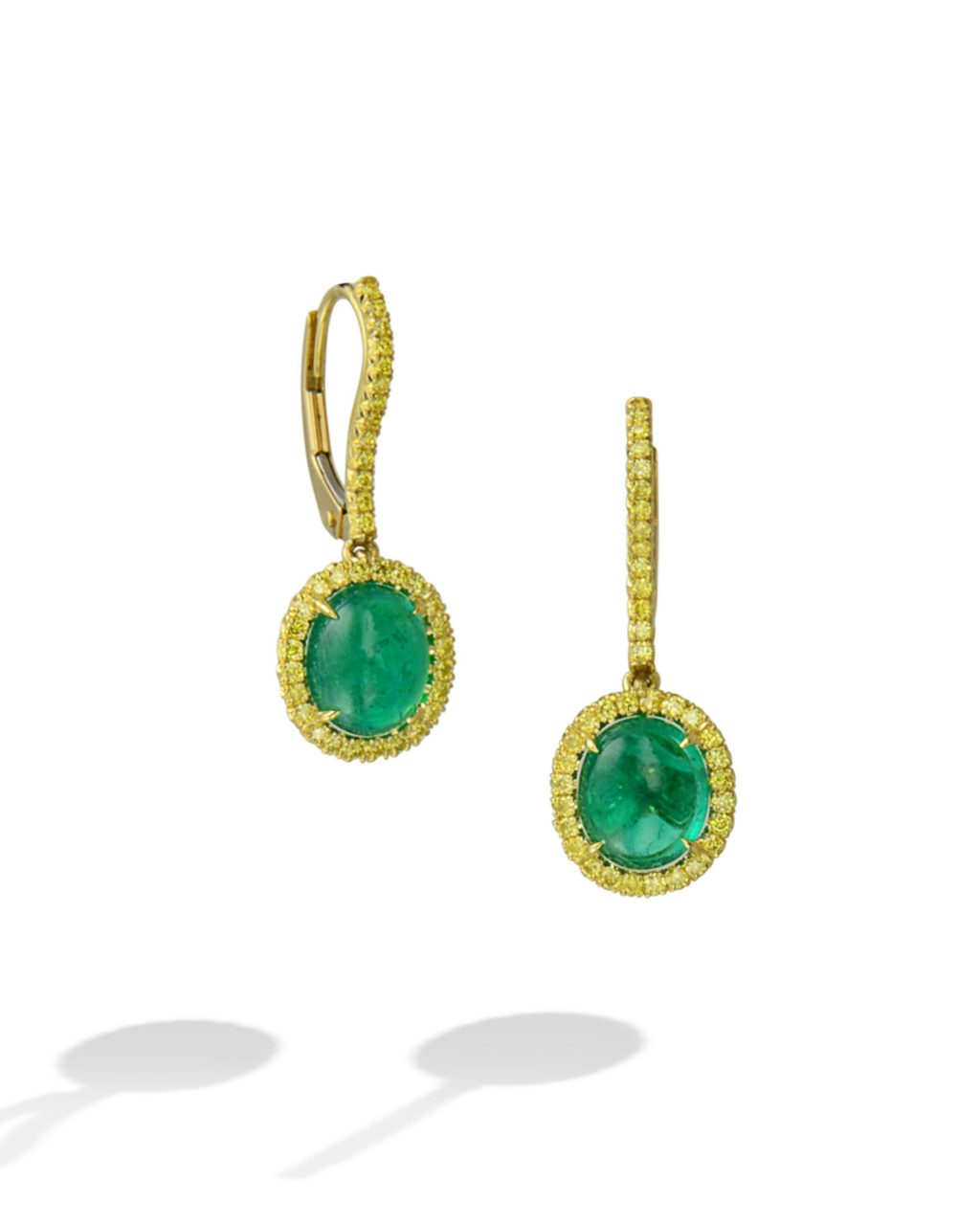 Colombian Emerald and Yellow Diamond Earrings