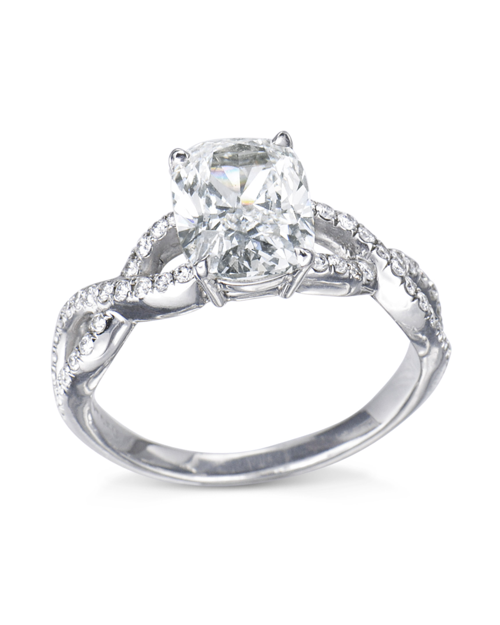 Cushion Cut Diamond Infinity Engagement Ring