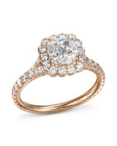 rose gold cushion-cut diamond halo engagement ring