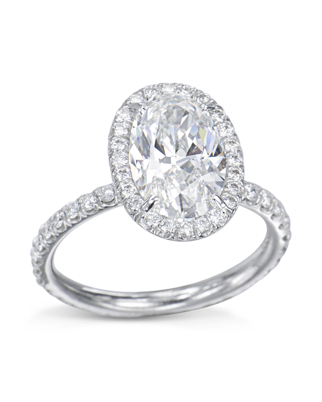 a9821429dbb8b Stunning Oval Diamond Halo Engagement Ring