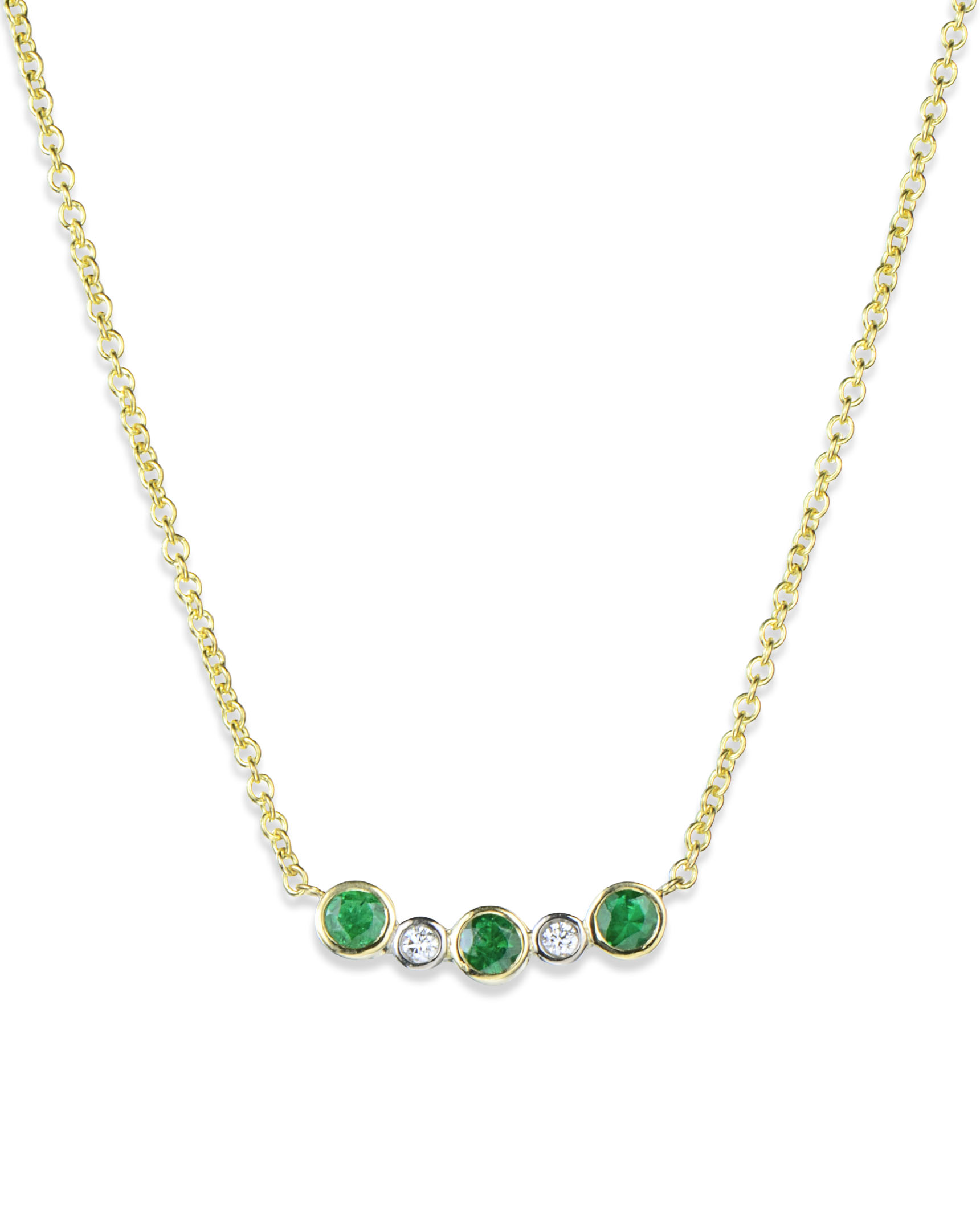 Bezel Set Emerald And Diamond Necklace Turgeon Raine