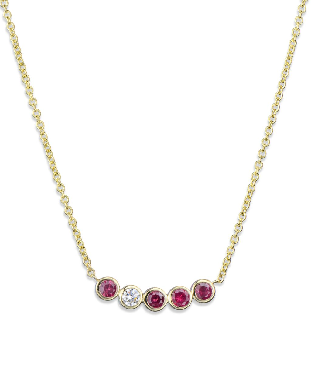 Bezel-Set Ruby and Diamond Necklace