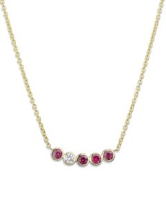 Bezel-Set Ruby and Diamond Necklace