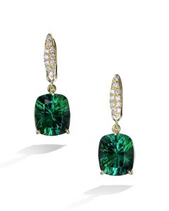 47ddc7294 Green Tourmaline and Diamond Drop Earrings