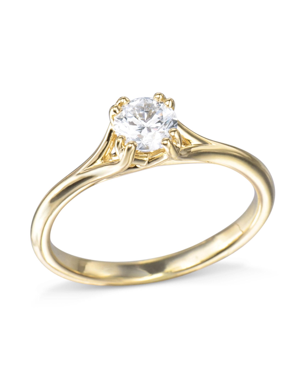 0f6fa71a2 Petite Gold Diamond Engagement Ring - Turgeon Raine