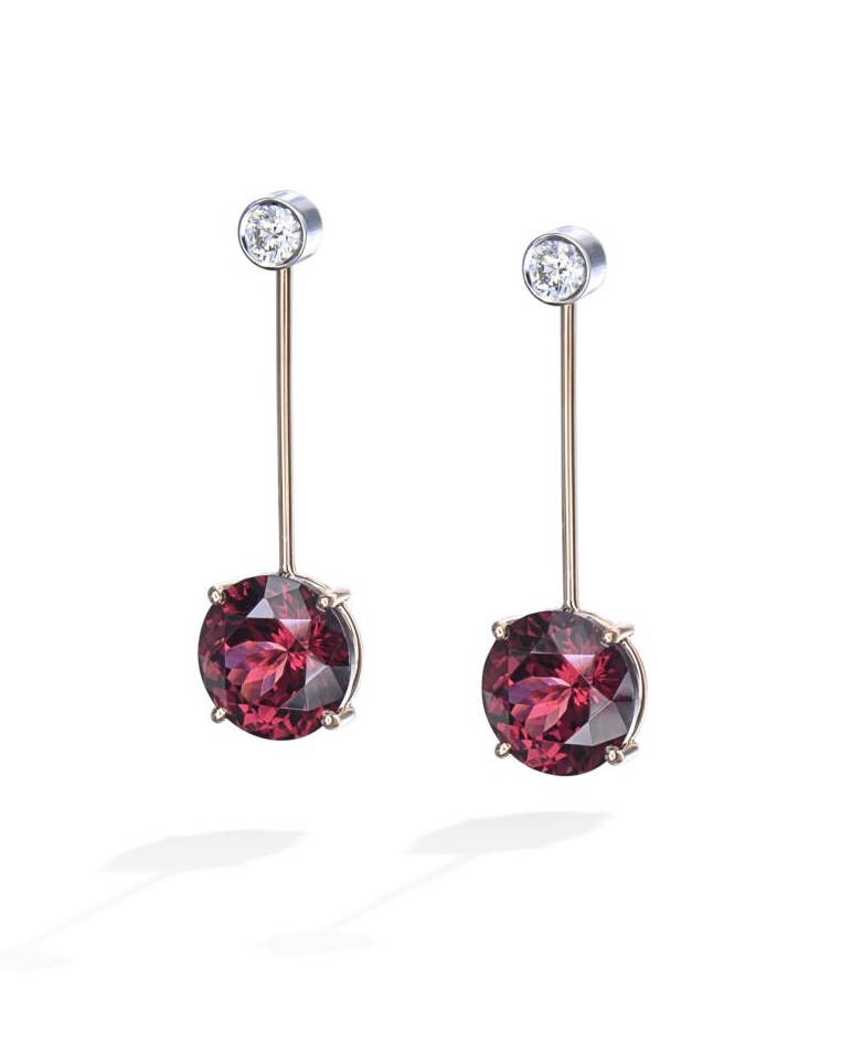 Rhodolite Garnet and Diamond Drop Earrings