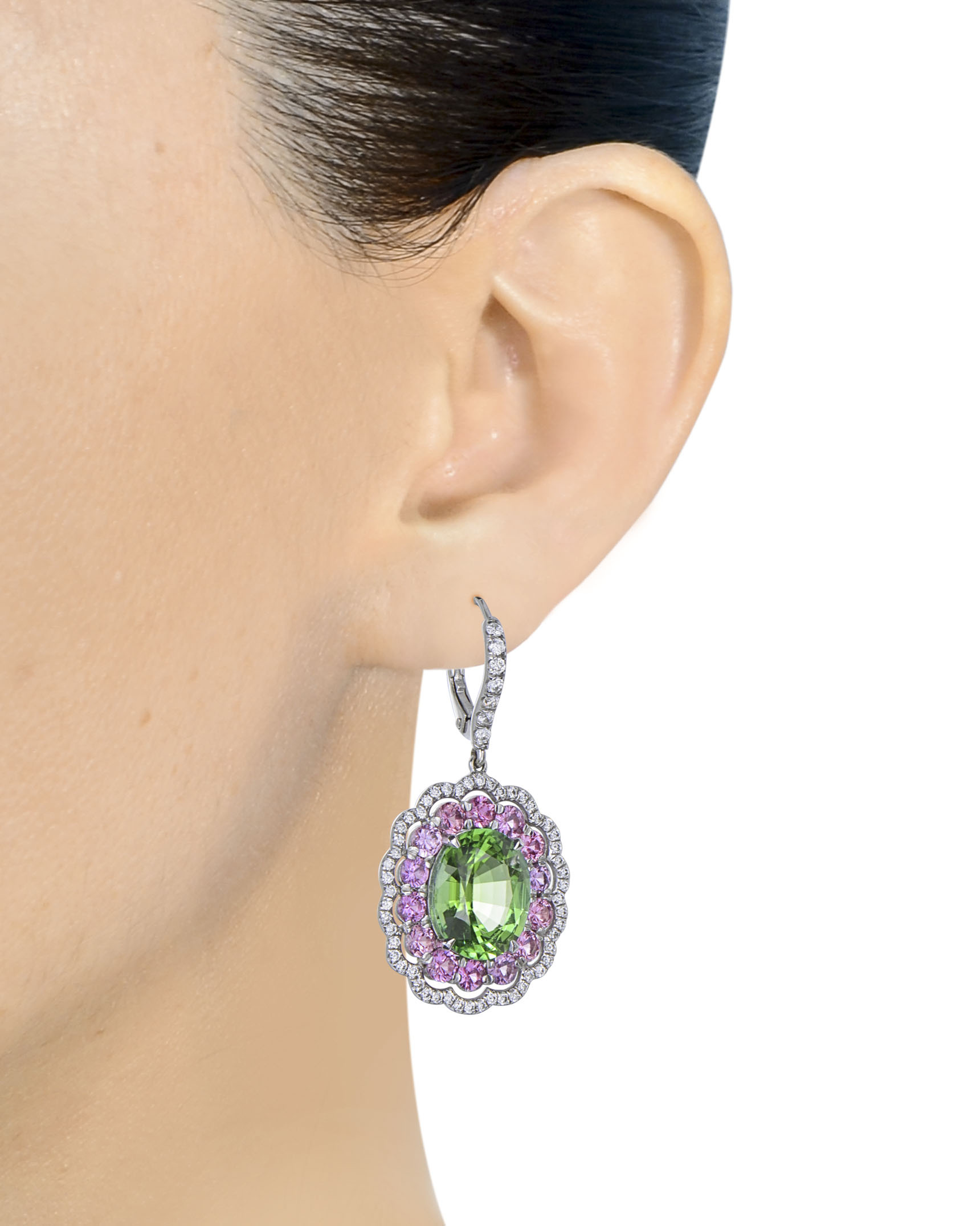 3e63ec619 Apple Green Tourmaline and Pink Sapphire Drop Earrings - Turgeon Raine