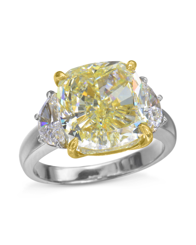 Cushion Cut Yellow Diamond Three Stone Ring