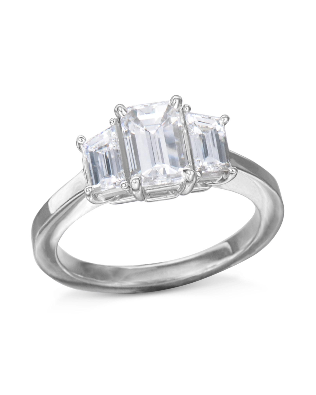Emerald Cut Three Stone Diamond Ring Turgeon Raine