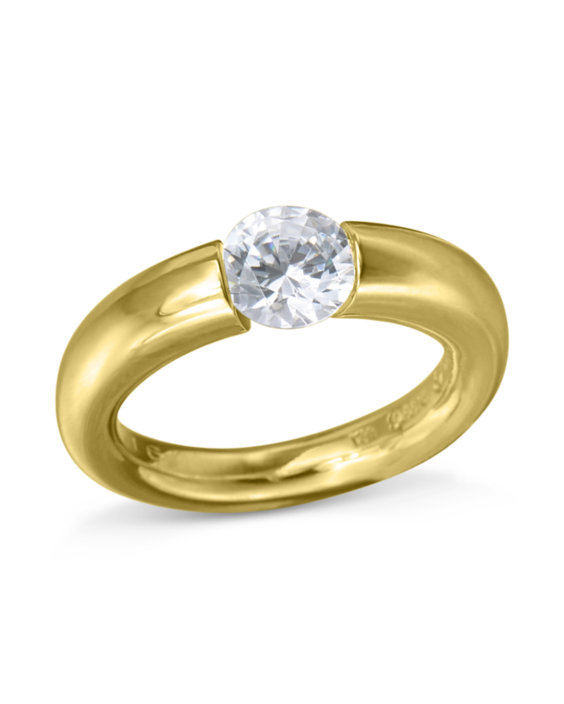 Yellow Gold Sush Tension Set Diamond Ring Turgeon Raine