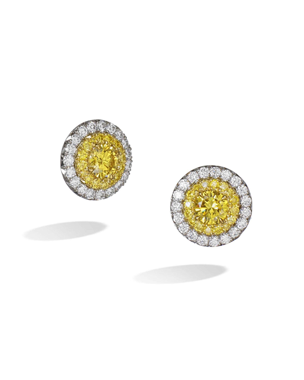 Yellow And White Diamond Stud Earrings