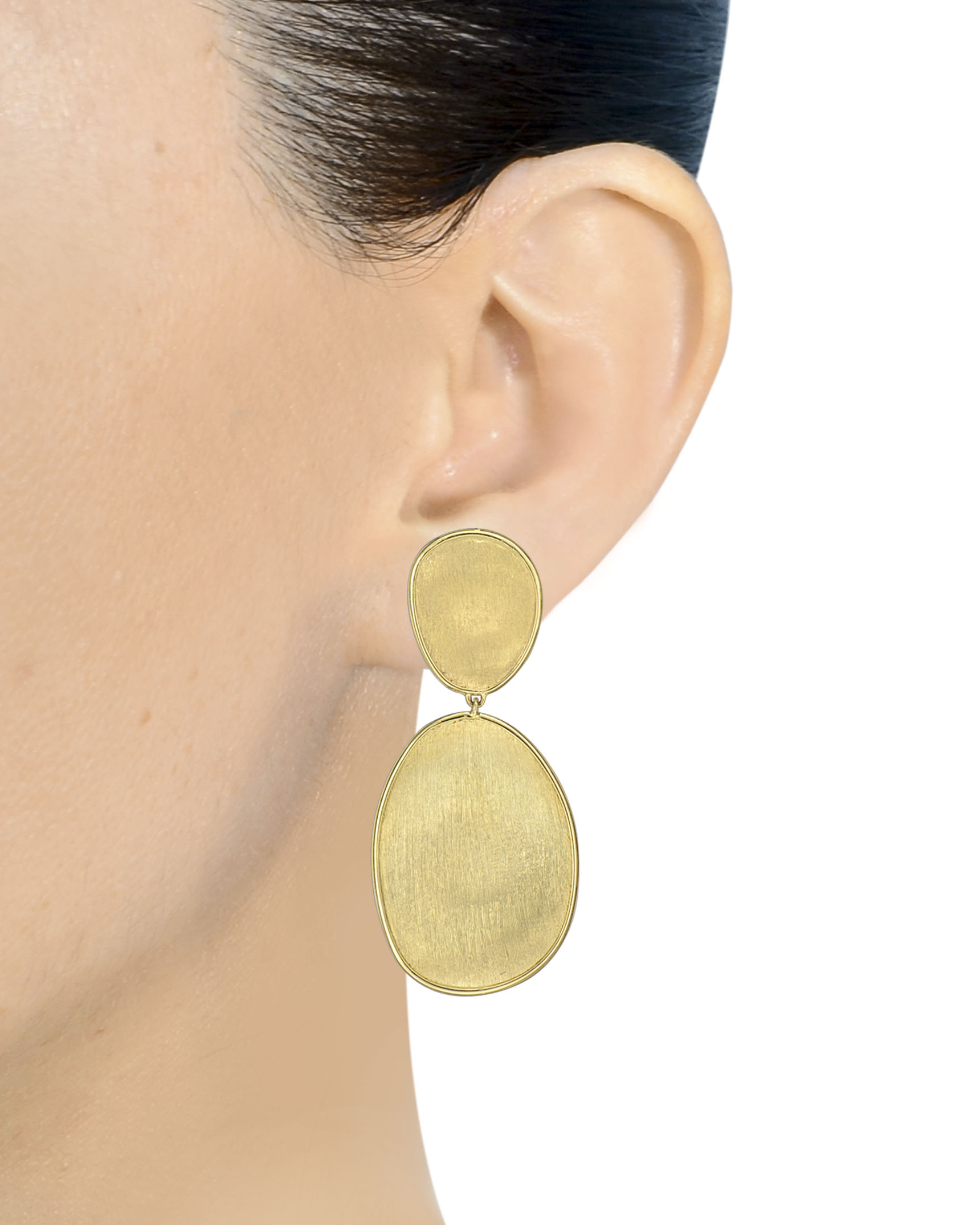 Yellow Gold Double Flat Disc Lunaria Stud Earrings By