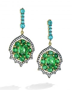 161cb5945 Brazilian Paraiba Tourmaline and Tsavorite Drop Earrings