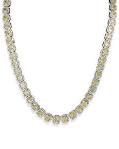 Yellow and White Diamond Statement Necklace