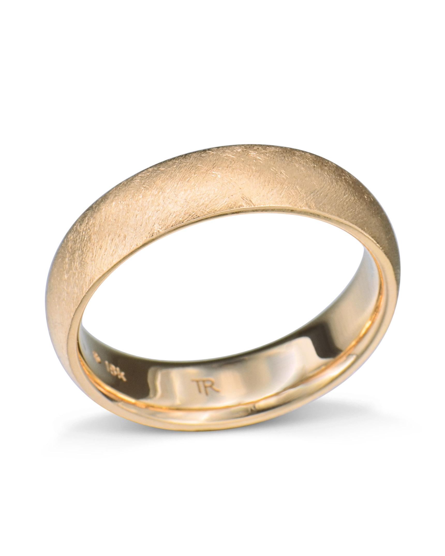 Rose Gold Wedding Band.Brushed Finish Rose Gold Wedding Band