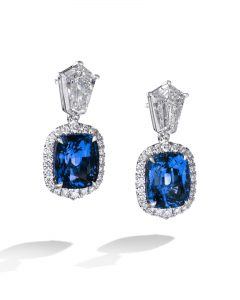 Rare Ceylon Cushion Sapphire and Diamond Earrings