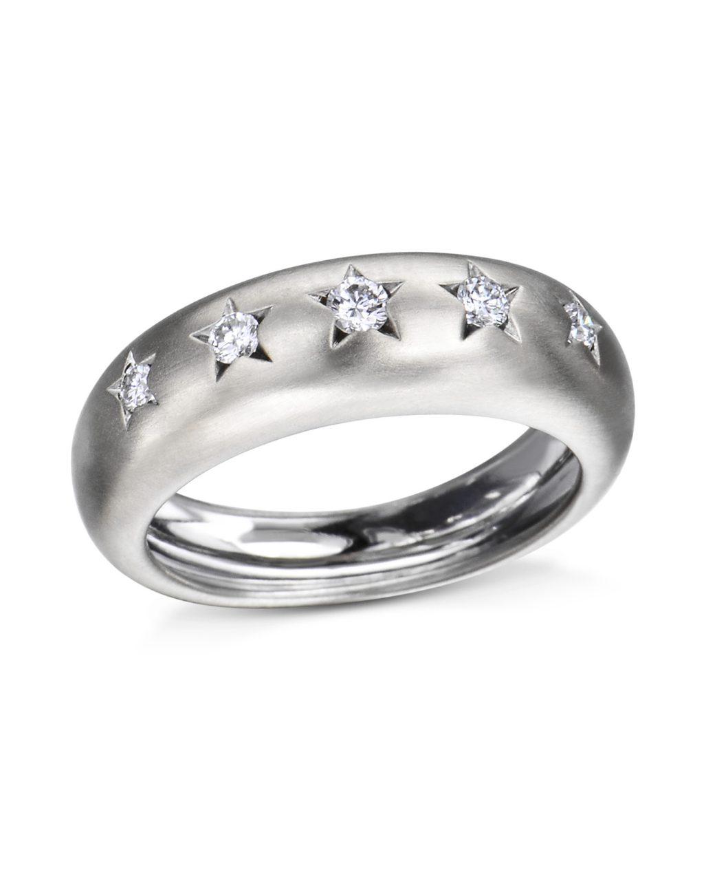 Star Design Diamond Wedding Band