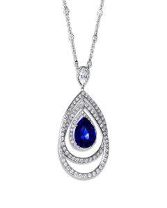 Burmese Sapphire and Diamond Halo Pendant