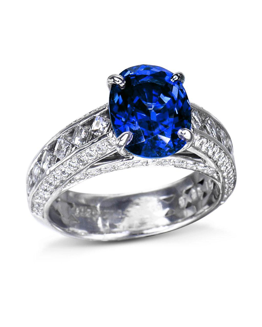 Oval Sapphire and Blaze-Cut Diamond Ring